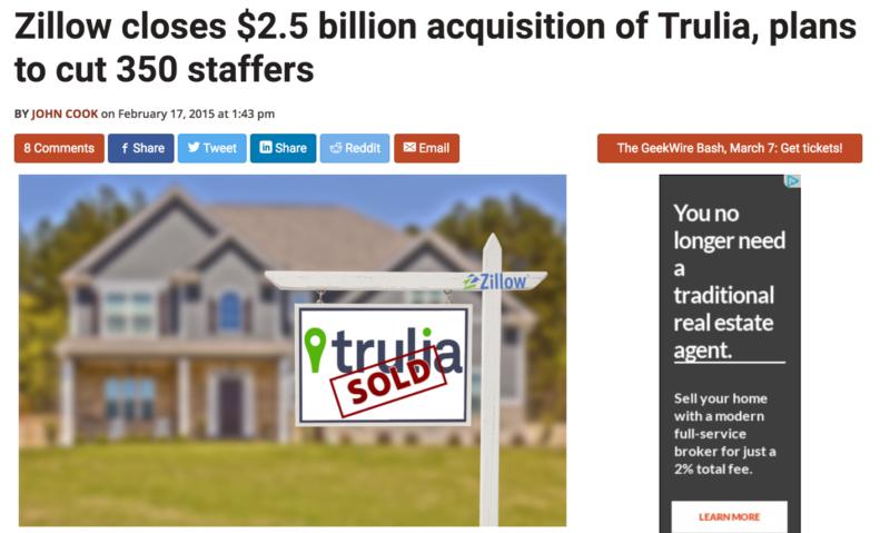 ZillowによるTruliaの買収完了と統合によるリストラを伝えるニュース