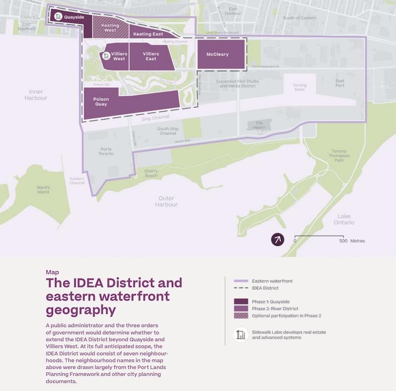 「Sidewalk Toronto」プロジェクトによる開発地域