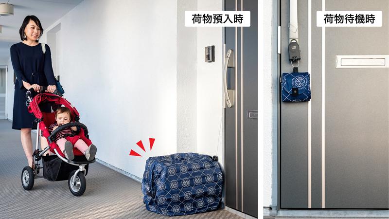 吊り下げ式簡易宅配ボックス「OKIPPA」の利用イメージ
